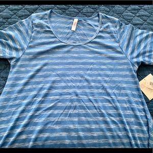 NWT LuLaRoe Perfect T Sz:  Large Blue white stripe